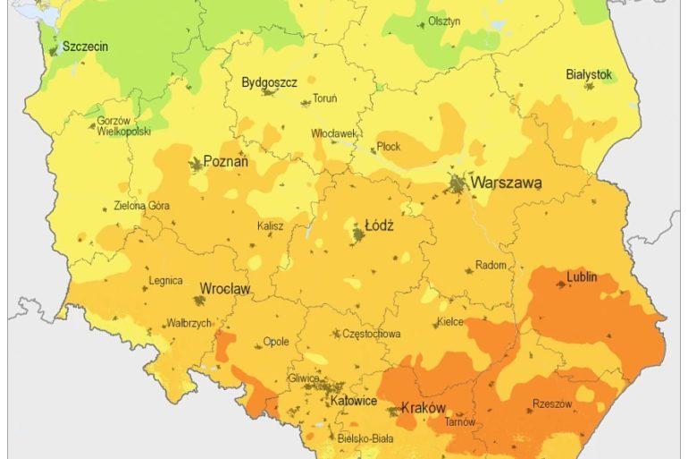 Mapa nasłonecznienia w Polsce