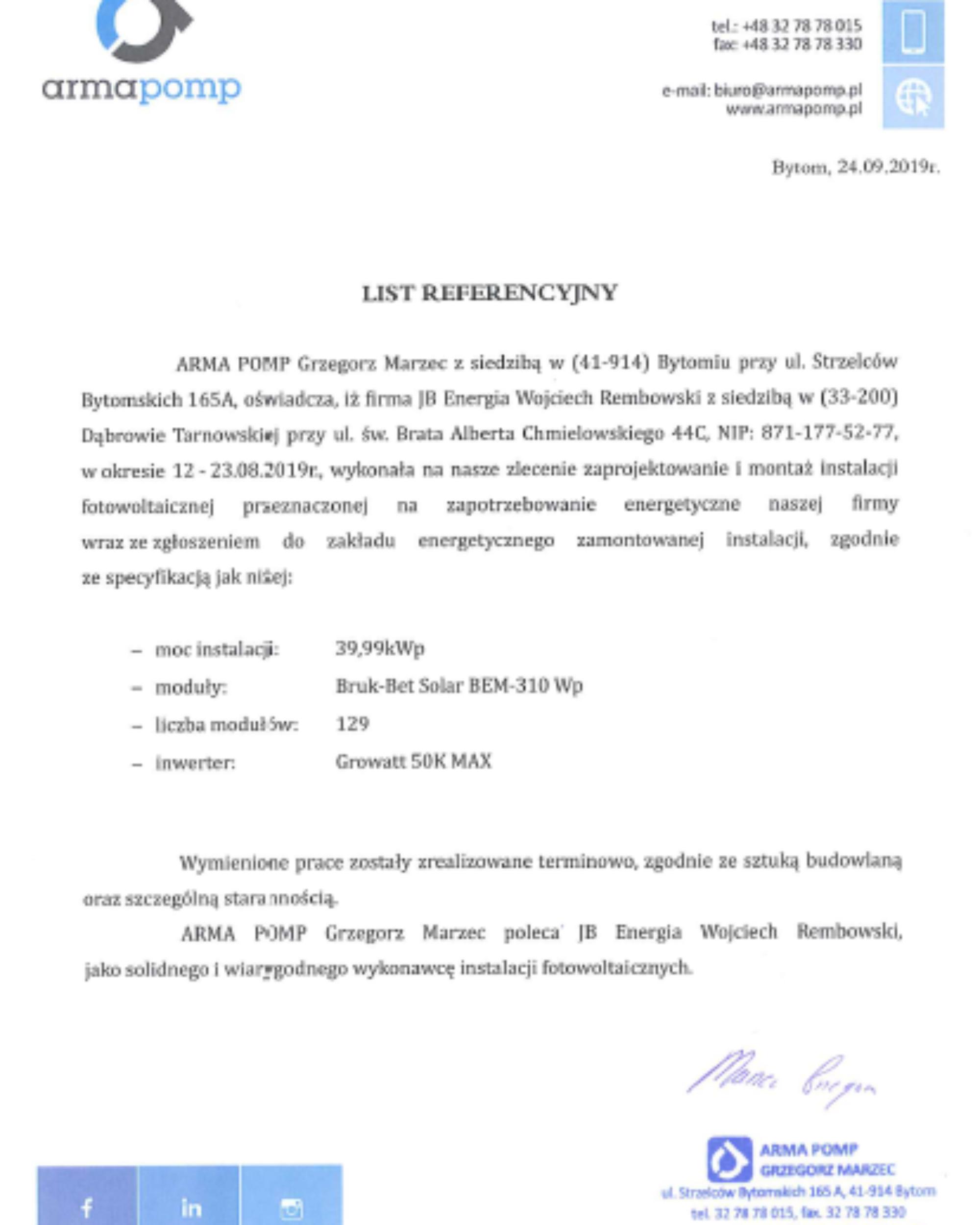 Arma Pomp List Referencyjny 2000x2500 - Arma Pomp w Bytomiu